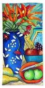 Blue Vase With Orange Flowers Bath Towel
