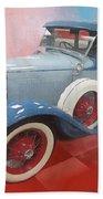 Blue Vintage Car Bath Towel