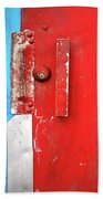 Blue Wall Red Door Bath Towel