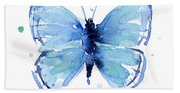Blue Watercolor Butterfly Bath Towel