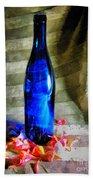 Blue Wine Bottle Bath Towel