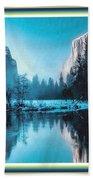 Blue Winter Fantasy. L B With Alt. Decorative Ornate Printed Frame. Bath Towel