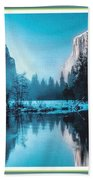 Blue Winter Fantasy. L B With Decorative Ornate Printed Frame. Bath Towel