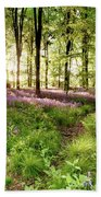 Bluebell Woods With Birds Flocking  Bath Towel