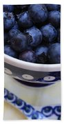 Blueberries In Polish Pottery Bowl Bath Towel