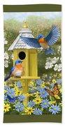 Bluebird Garden Home Bath Sheet by Crista Forest