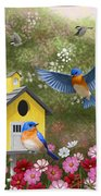 Bluebirds And Yellow Birdhouse Bath Towel by Crista Forest