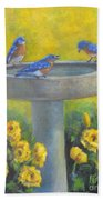 Bluebirds On Birdbath Bath Towel