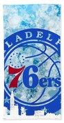 bluish backgroud for Philadelphia basket Bath Towel