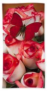 Blush Roses With Red Butterfly Bath Towel