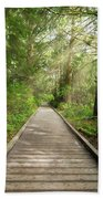 Boardwalk Along Hiking Trail At Fort Clatsop Hand Towel