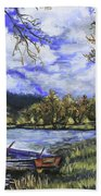 Boat By The Lake Bath Towel