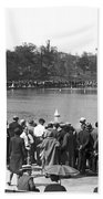 Boat Races In Central Park Bath Towel