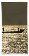 Boat Silhouette In Sunrise At Marina Beach, Chennai Bath Towel