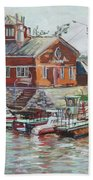 Boat Station On Krestovsky Island In St.-petersburg Bath Towel