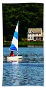 Boat - Striped Sails Bath Towel