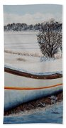 Boat Under Snow Hand Towel