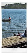 Boating And Sitting On The Dock Hand Towel