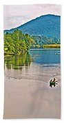 Boating On Connecticut River Between Vermont And New Hampshire Bath Towel