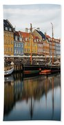 Boats At Nyhavn In Copenhagen Hand Towel by James Udall