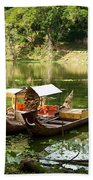 Boats In Lake Ankor Thom Bath Towel