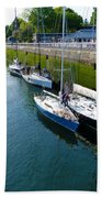 Boats Moving Into Chittenden Locks Seattle Bath Towel