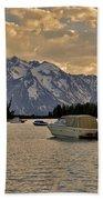 Boats On Jackson Lake At Sunset Hand Towel
