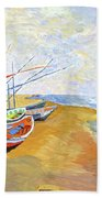 Boats On The Beach At Saintes-maries After Van Gogh Bath Towel