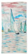 Boats On Water Monet  Bath Towel