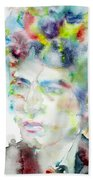 Bob Dylan - Watercolor Portrait.4 Bath Towel