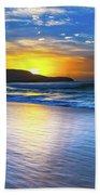 Bold And Blue Sunrise Seascape Hand Towel