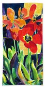 Bold Quilted Tulips Bath Towel