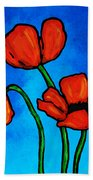 Bold Red Poppies - Colorful Flowers Art Bath Towel