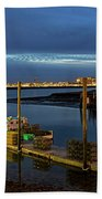 Boston Ma Belle Isle Boat Pier And Skyline Logan Airport Bath Towel