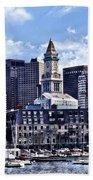 Boston Ma - Skyline With Custom House Tower Bath Towel