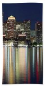 Boston Night Skyline Panorama Bath Towel
