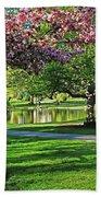 Boston Public Garden Pond Through The Cherry Blossom Spring Day Bath Towel