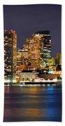 Boston Skyline At Night Panorama Bath Towel