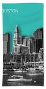 Boston Skyline - Graphic Art - Cyan Bath Towel