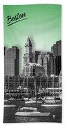 Boston Skyline - Graphic Art - Green Hand Towel