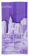 Boston Skyline - Graphic Art - Purple Bath Towel
