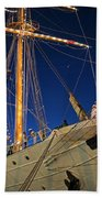 Boston Tall Ship Flags Boston Ma Sailors Blue Sky Bath Towel