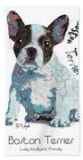 Boston Terrier Pop Art Bath Towel