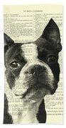 Boston Terrier Portrait In Black And White Bath Towel
