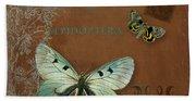 Botanica Vintage Butterflies N Moths Collage 4 Bath Towel