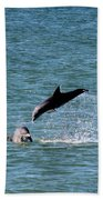Bottlenose Dolphins In The Ocean Bath Towel