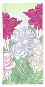 Bouquet With White And Pink Peonies.spring Bath Towel