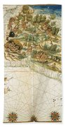 Brazil: Map And Native Indians Bath Towel