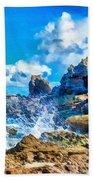 Breakers On The Rocks At Kenridgeview - On - Sea L B Bath Towel