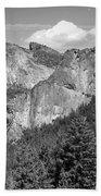 Bridalveil Falls From Tunnel View B And W Bath Towel